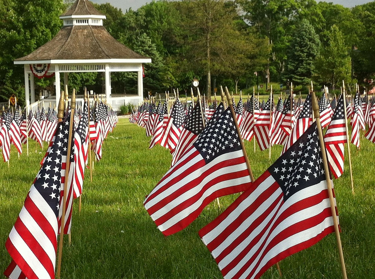 Rows of American Flag on Memorial Day
