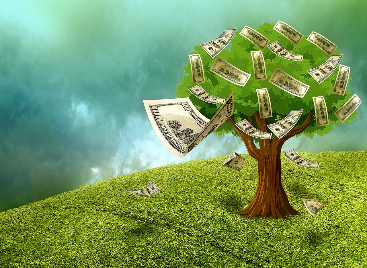 An illustration showing money falling from a tree