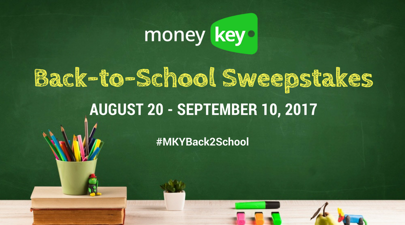 MoneyKey Back-to-School Sweepstakes August 20 - September 10,2017