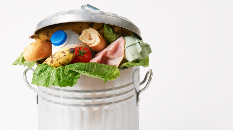 trash can with wasted food