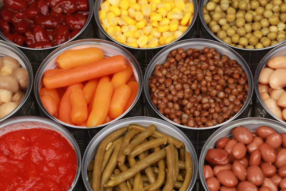 canned foods like veggies and legumes are good year round
