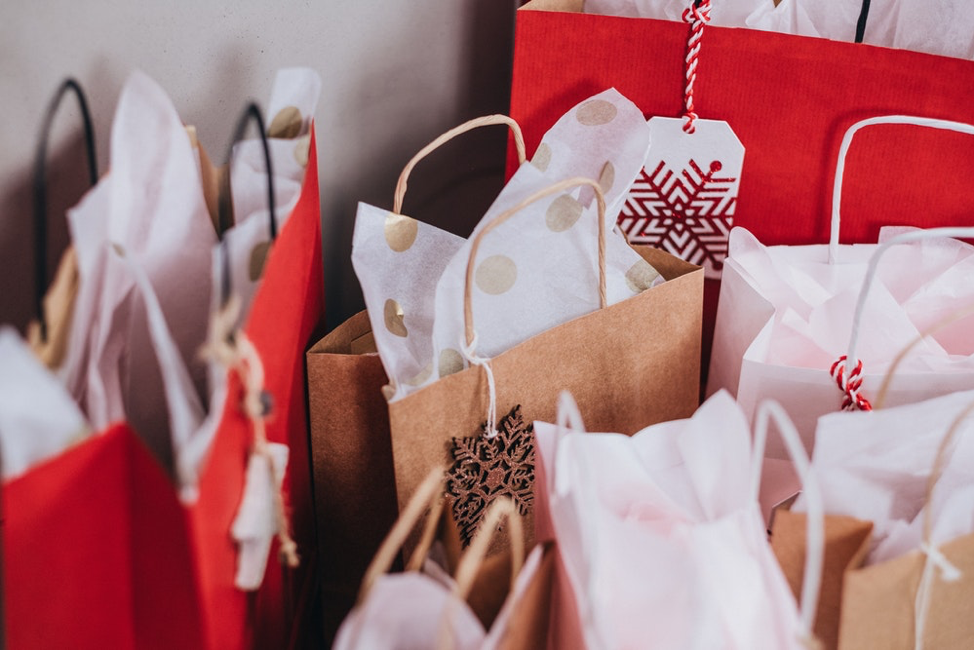 Gift bags purchased using 1% of the annual income as holiday budget