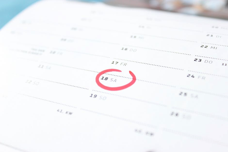 calendar with a date circled