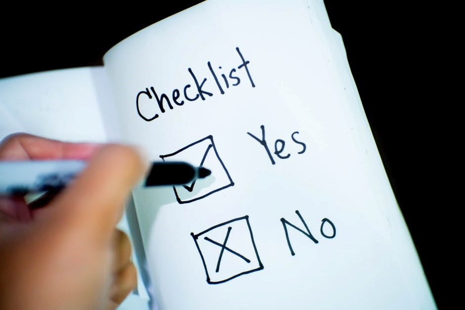 checklist in a notepad