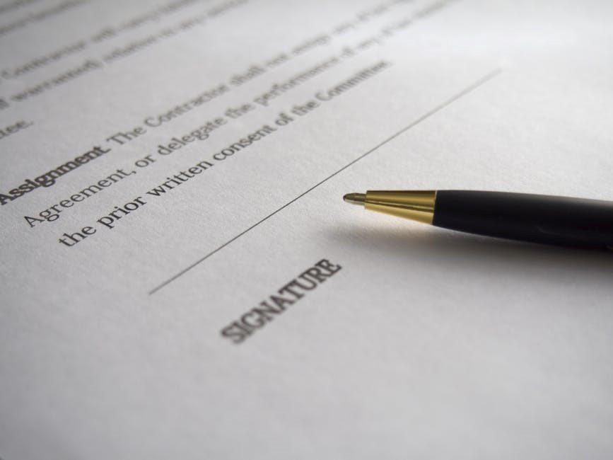 signature section on a contract