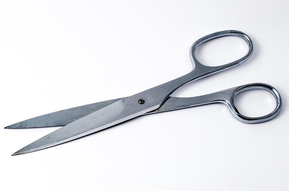 scissors used to cut up credit cards