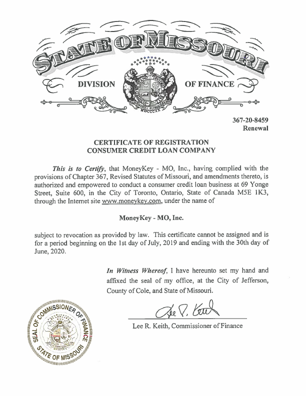 Missouri Line of Credit state license