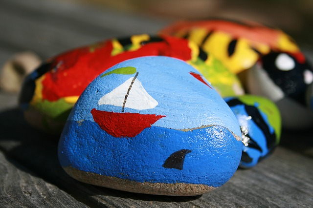 rock painting is a great summer activity for kids