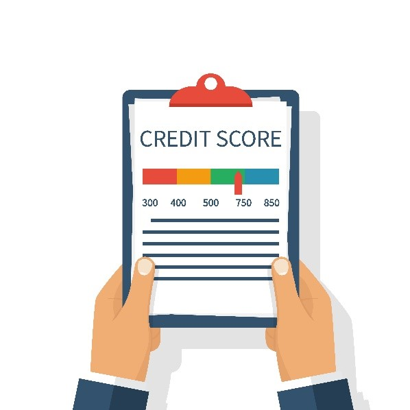 Vector image of a person holding a clipboard with credit score spectrum