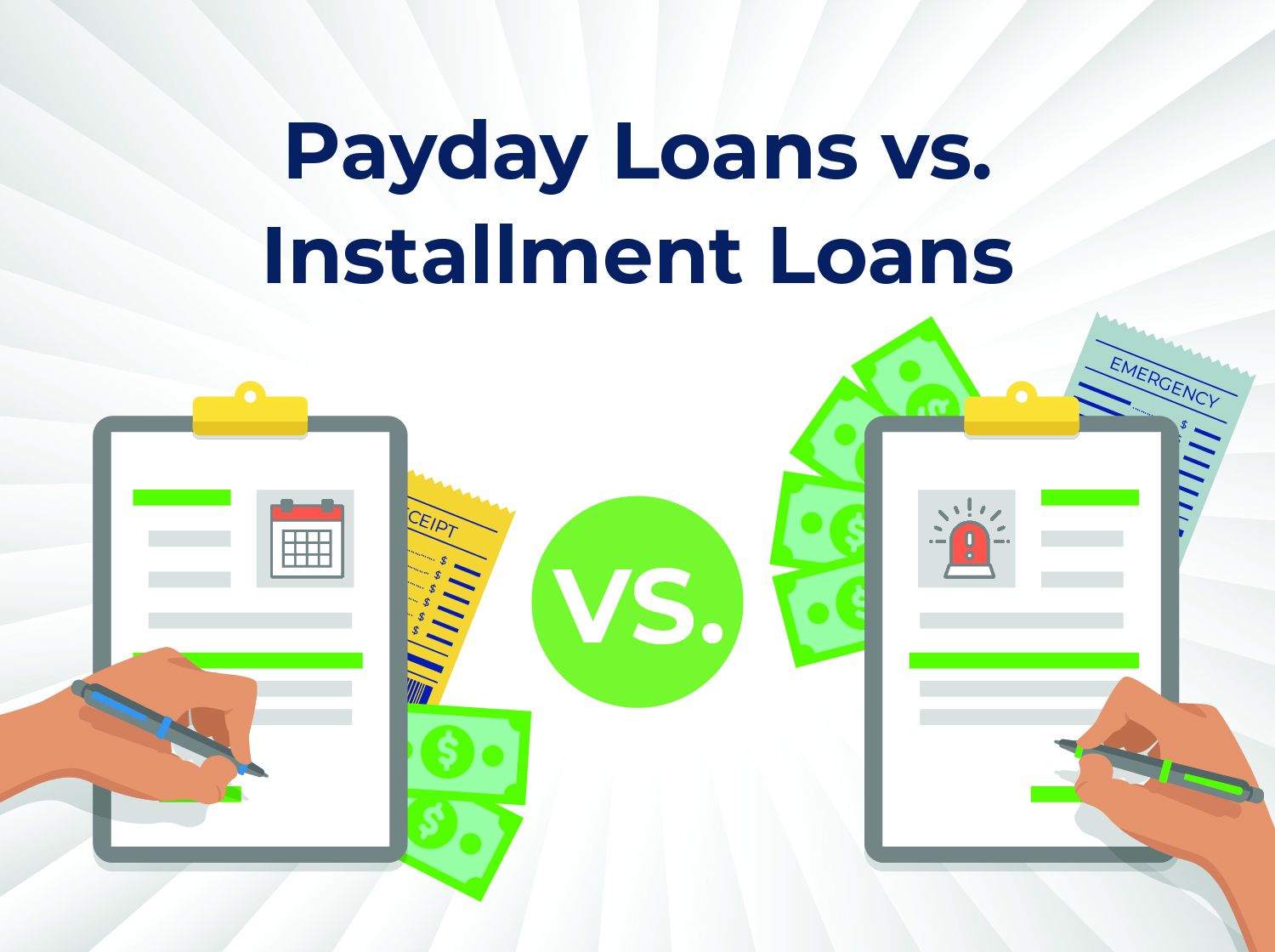 Vector illustration demonstrating the difference between payday loans vs installment loans