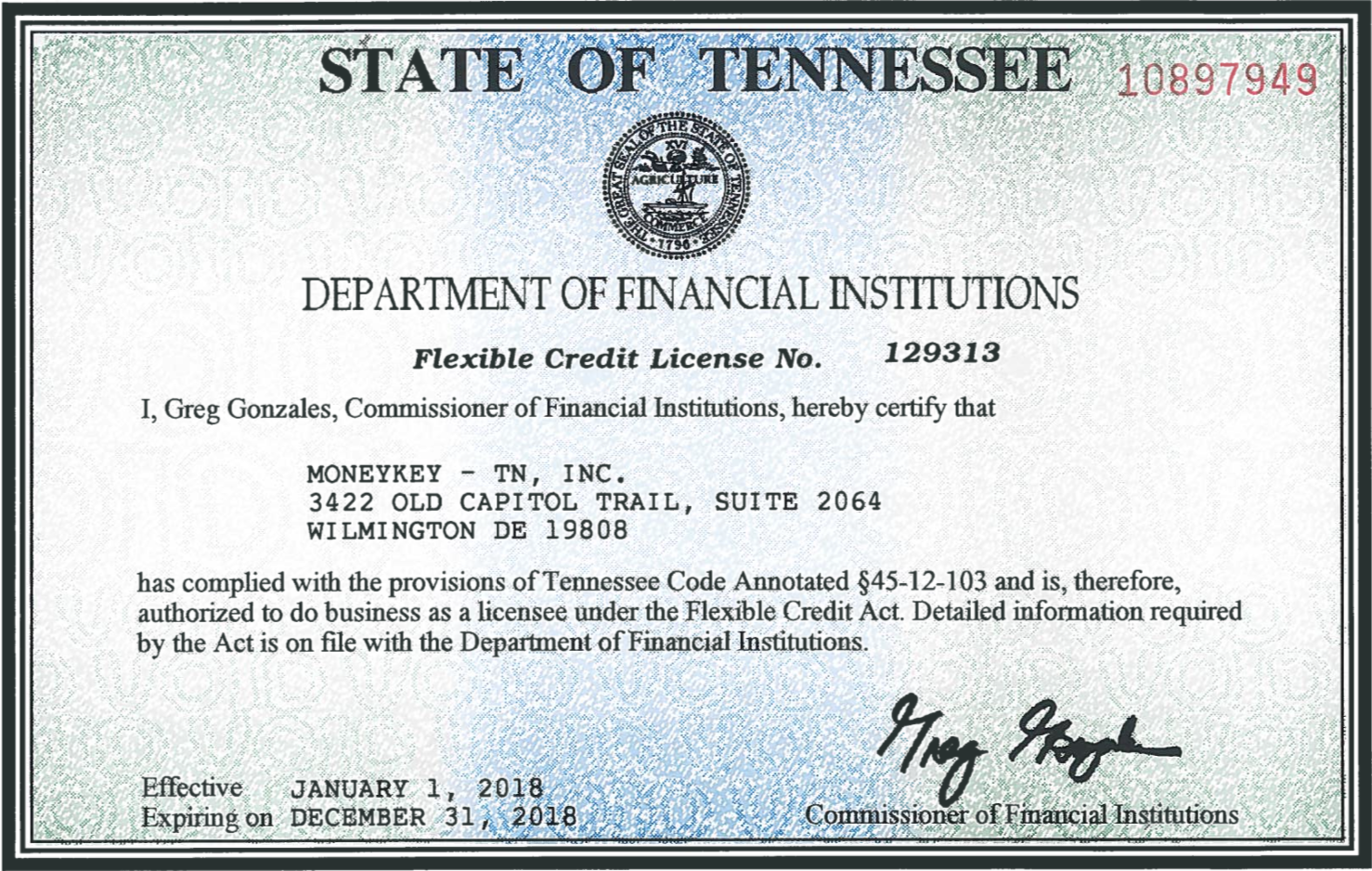 Tennessee state license